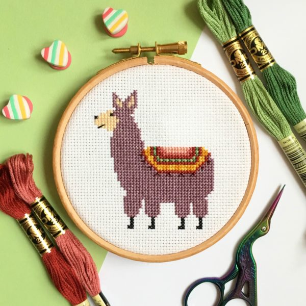 llama-cross-stitch-hoop