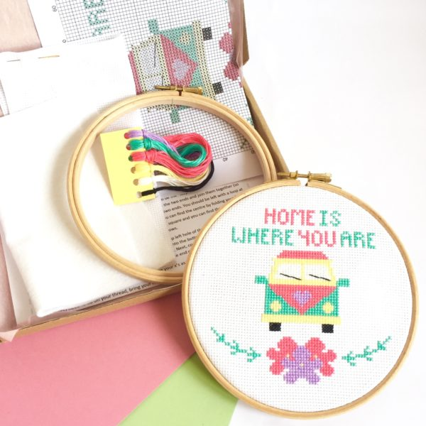 camper-van-cross-stitch-kit-supplies