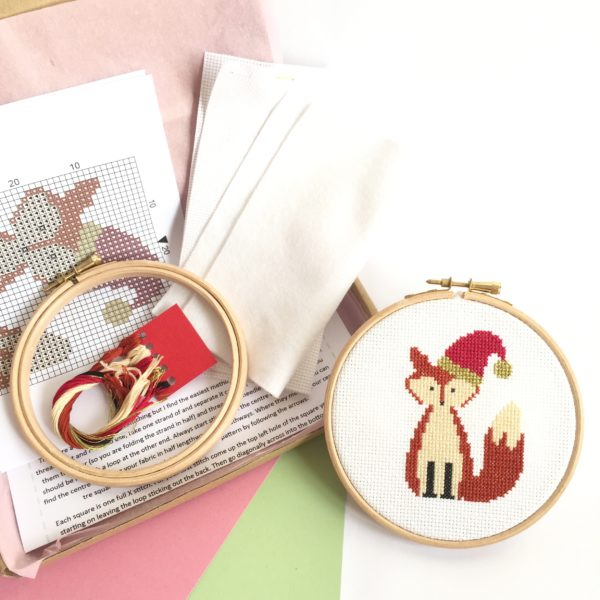 christmas-fox-cross-stitch-kit-supplies