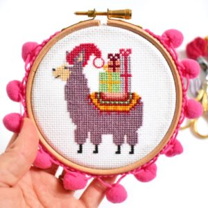 christmas-llama-cross-stitch-kit-with-pom-poms