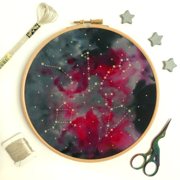 family-star-sign-zodiac-constellation-cross-stitch-hoop