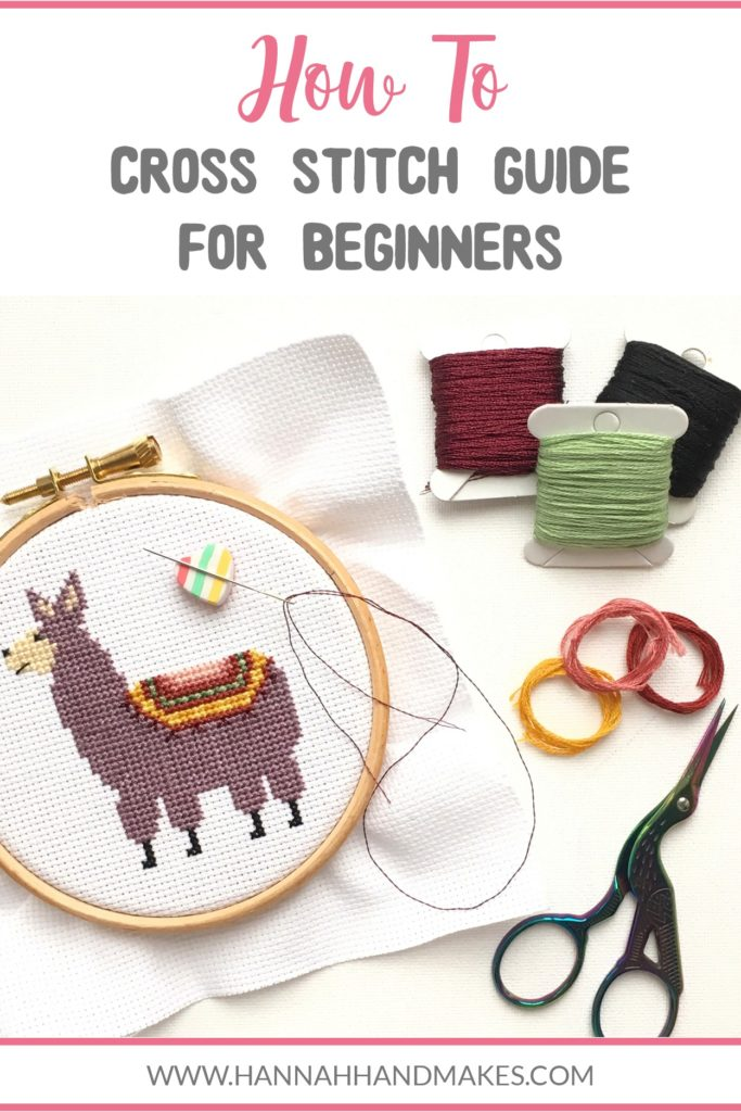 This guide is filled with instructions on how to cross stitch, including some extra resources. Each title is a link that will take you to a relevant video tutorial if you need the extra visual. #howtocrossstitch #crossstitch #hannahhandmakes #diycrafts