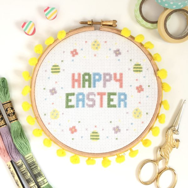 Happy Easter Cross Stitch Kit for Beginners by Hannah Hand Makes
