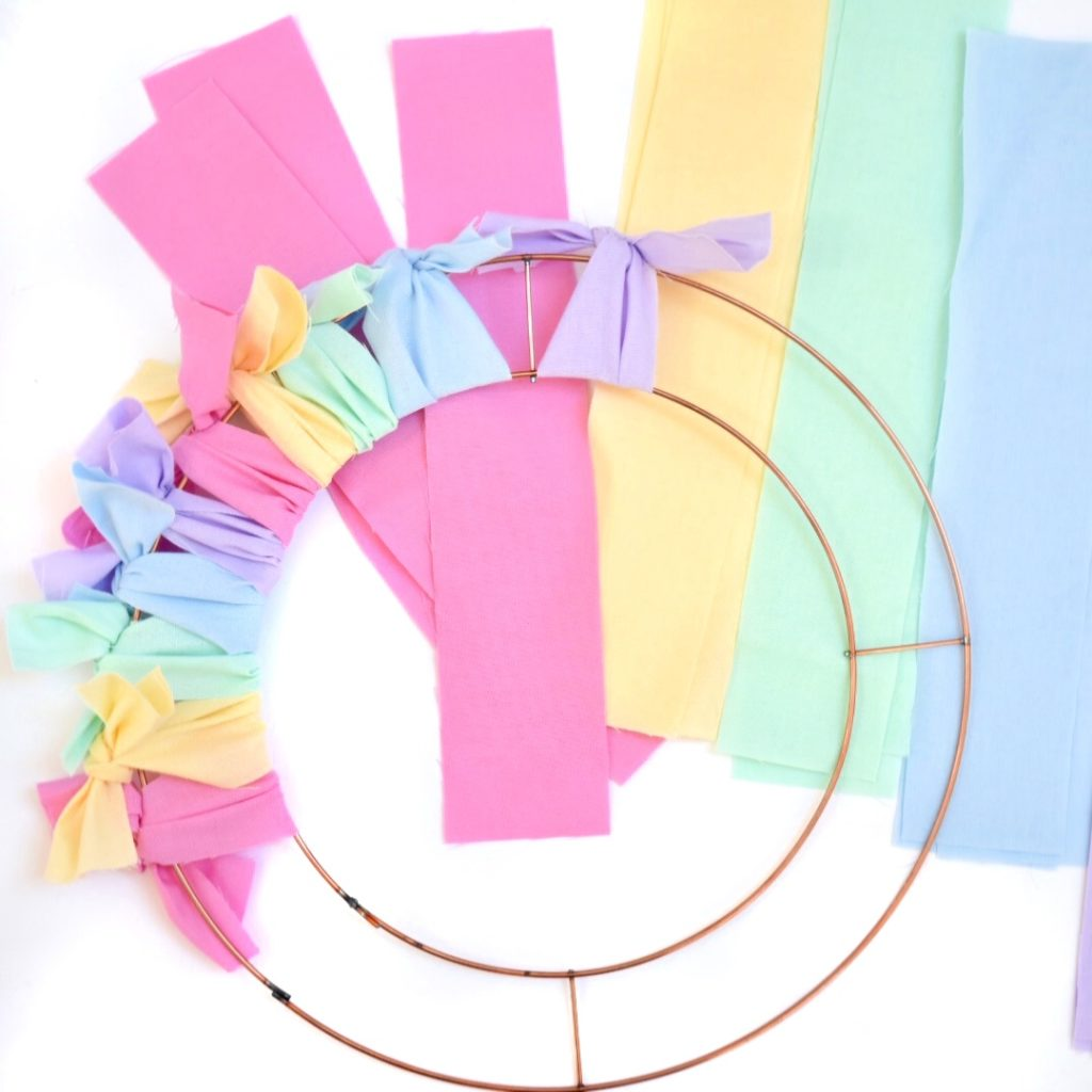 tying-fabric-onto-easter-wreath