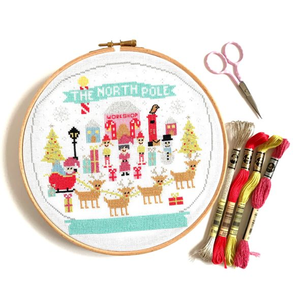 The North Pole Cross Stitch Kit by Hannah Hand Makes.
