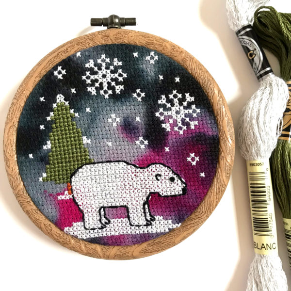 Polar Bear Cross Stitch Kit by Hannah Hand Makes