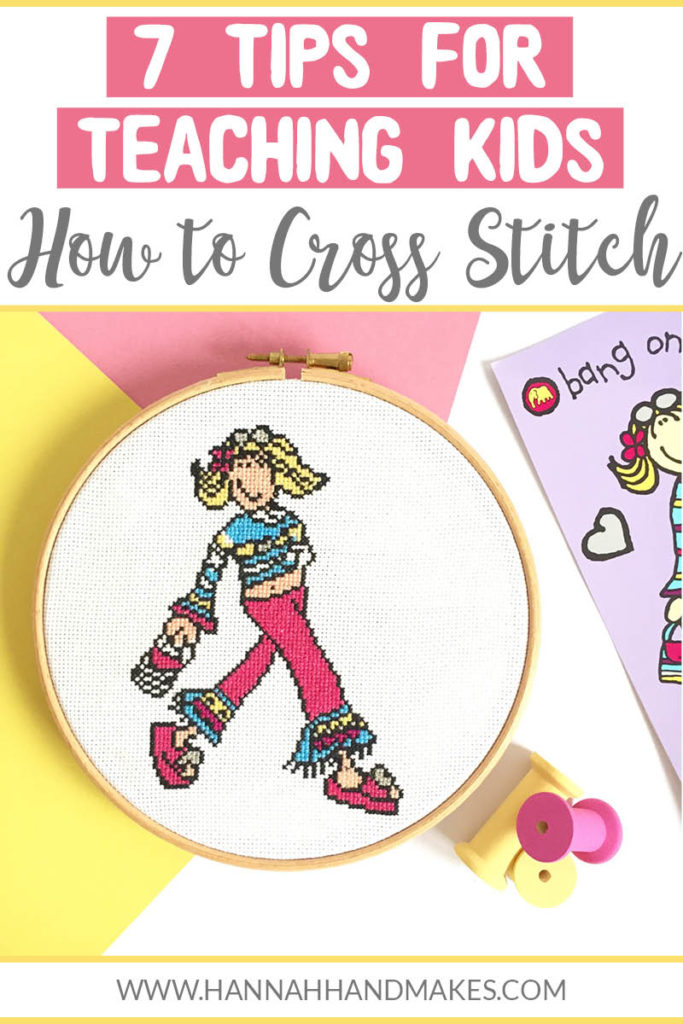In this post, I am sharing my 7 tips on teaching kids how to cross stitch and sharing my reasons why I think it's good to teach kids cross stitch. 1. Give them freedom 2. Be present 3. Let them pick their supplies 4. Let them design their own cross stitch pattern 5. Be patient 6. Be ok with them not carrying on 7. Make it even more fun.